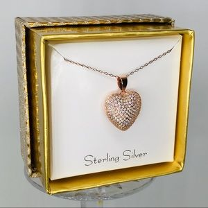 Jewelry - 14k rose gold heart pave pendant necklace in box